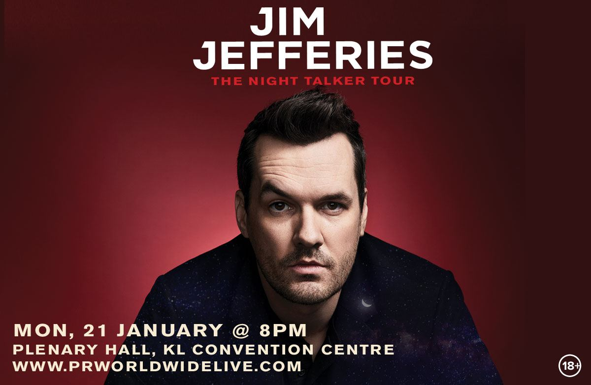 """Jim Jefferies """"The Night Talkers"""" Tour. Tickets priced at RM188 and RM288 available from 10am, 30th October"""